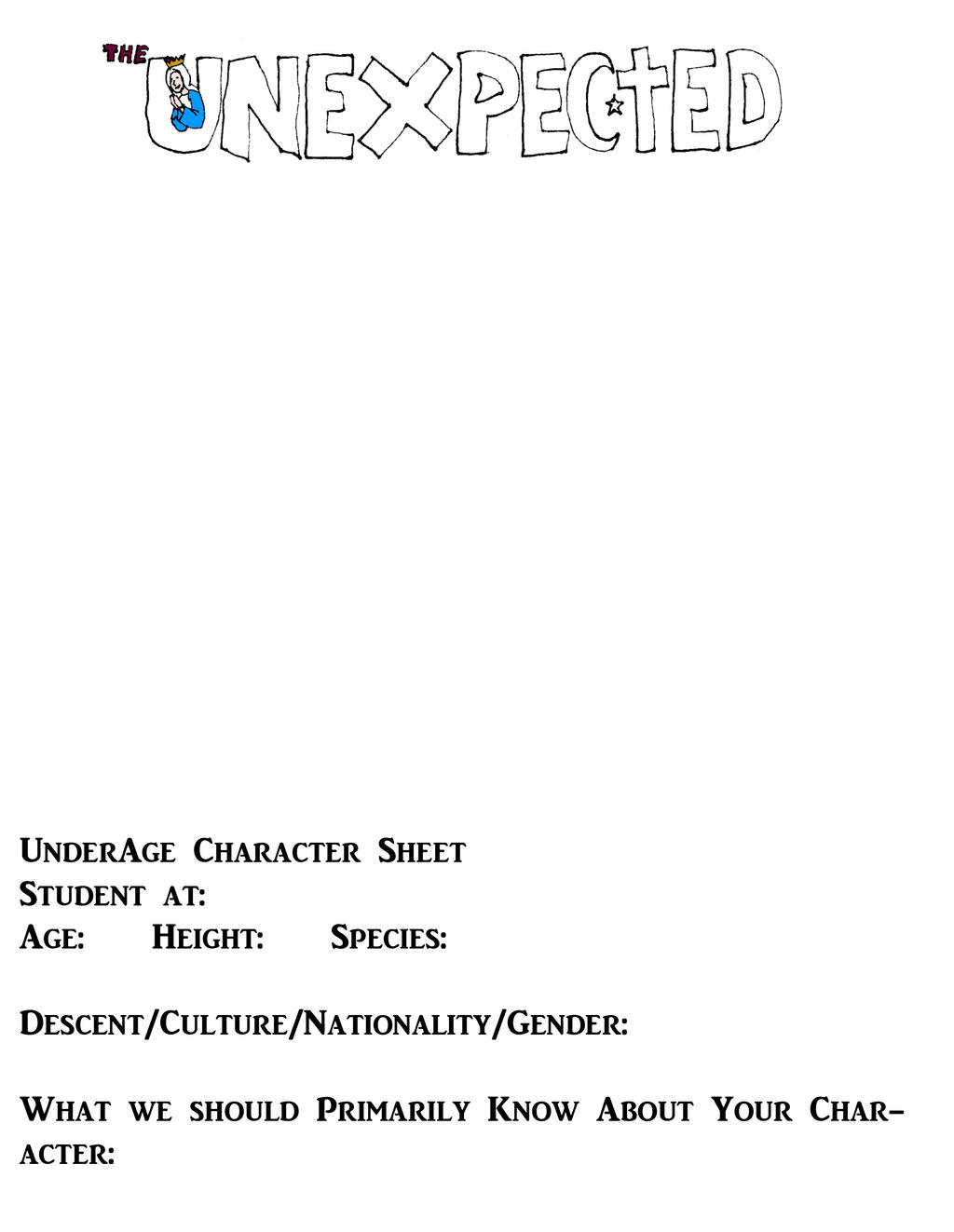Character Sheet for The UnExpected: Underage Chara by DreadedOne131
