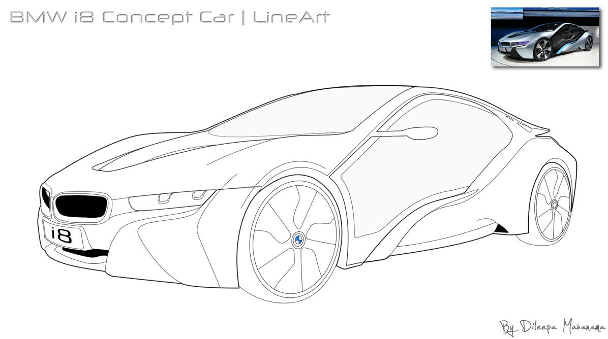 Bmw I8 Concept Car Lineart By Djnetz On Deviantart