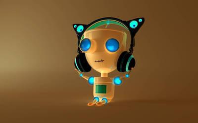Steve listens to music by RitikRaj-3d
