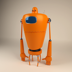 Orange Robot  by RitikRaj-3d