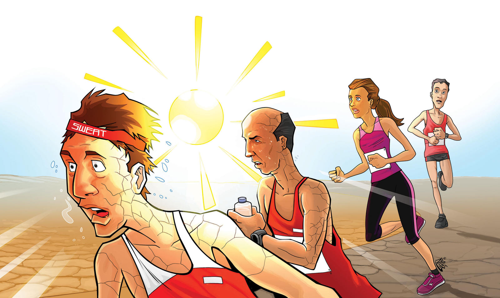 Runners In Extreme Weather Conditions illustration by markador