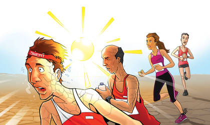 Runners In Extreme Weather Conditions illustration