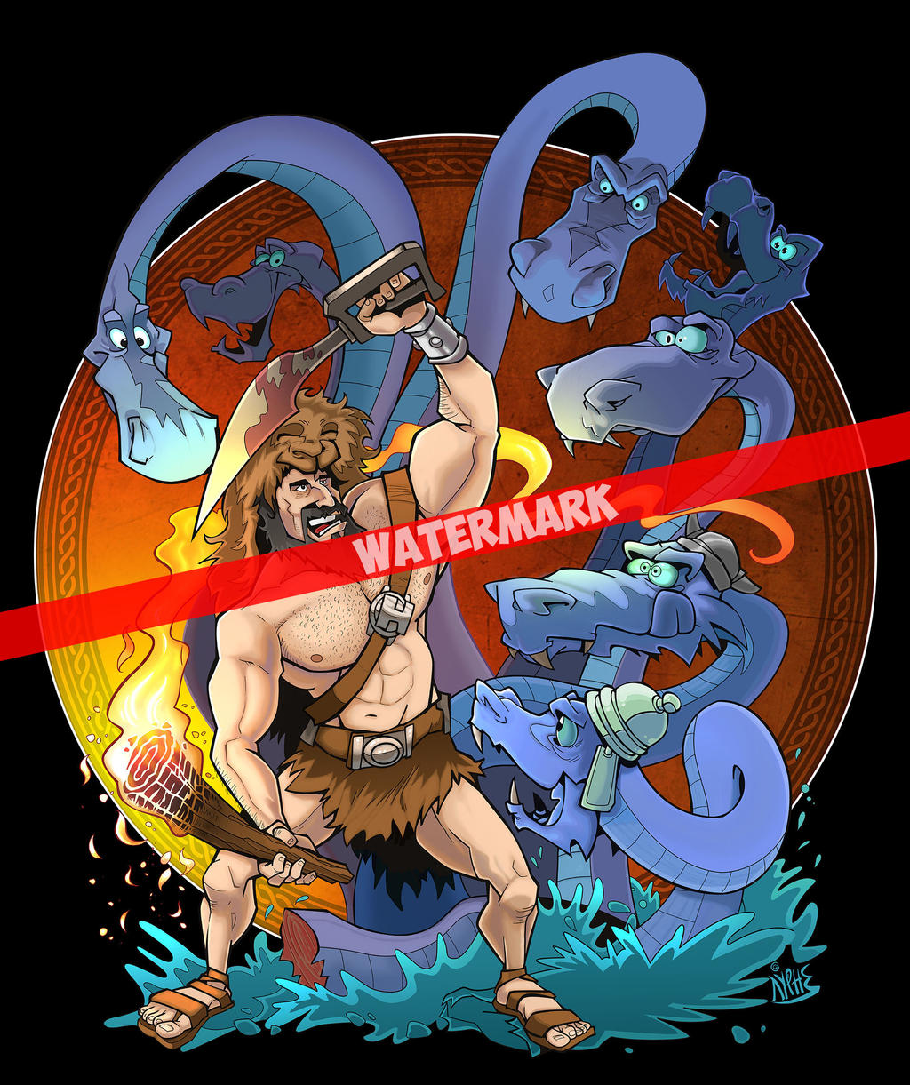 Hercules and Hydra watermarked by markador