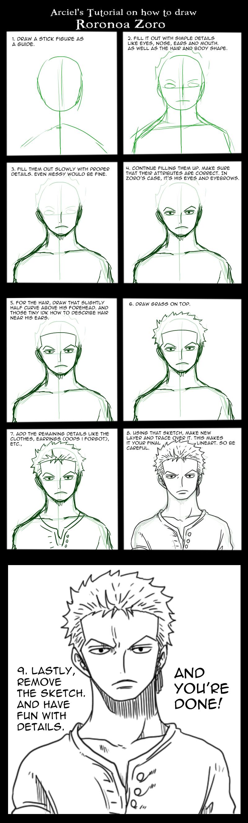Arciel's Tutorial: How to draw Roronoa Zoro by ArcielFreeder