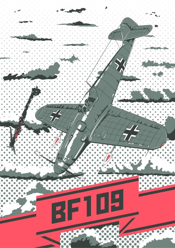 German fighter aircraft  Messerschmitt Bf 109 by Fresco24