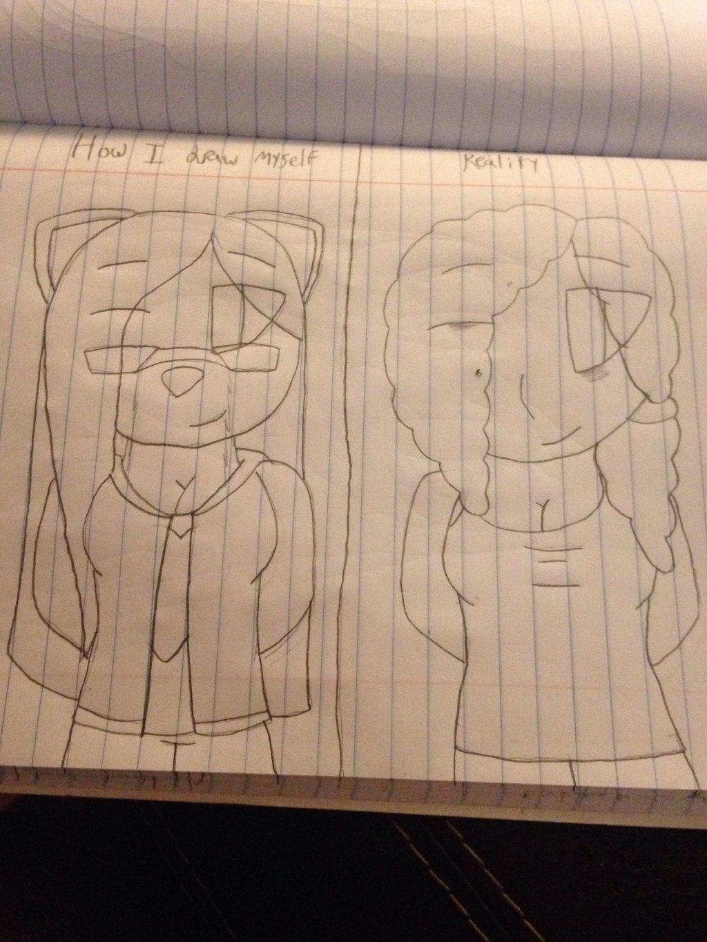 How I draw myself vs. Reality :3 by ShadAmyfangirl129