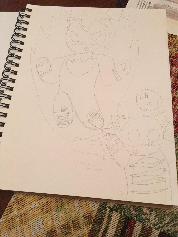 Chibi Flaming Ember (Art Trade) (sketch)  by ShadAmyfangirl129