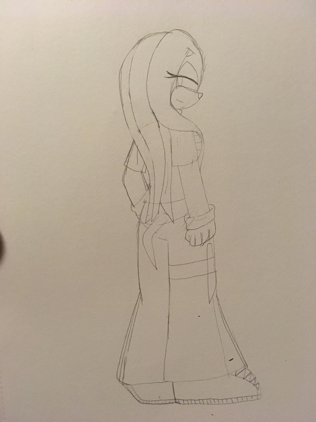 Emily the Echidna sketch (posing practice) by ShadAmyfangirl129
