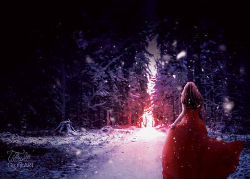 Red dress girl in the snow