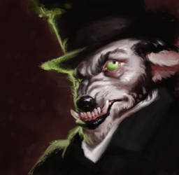 Behatted wolf by MadMosquito