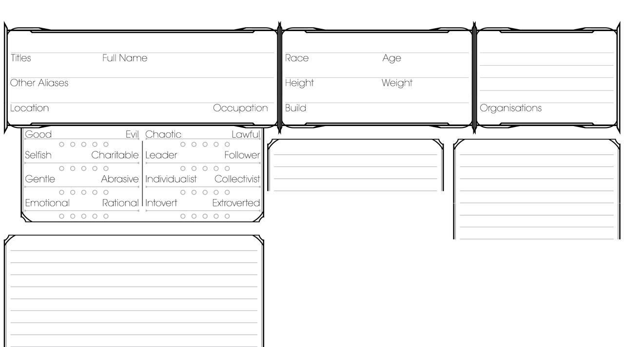 Character information sheet -  Wip Dnd Character Information Sheet By Arkaidyn