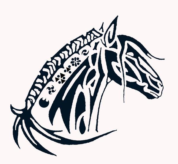 tribal horse head by fendo slanzar on deviantart. Black Bedroom Furniture Sets. Home Design Ideas
