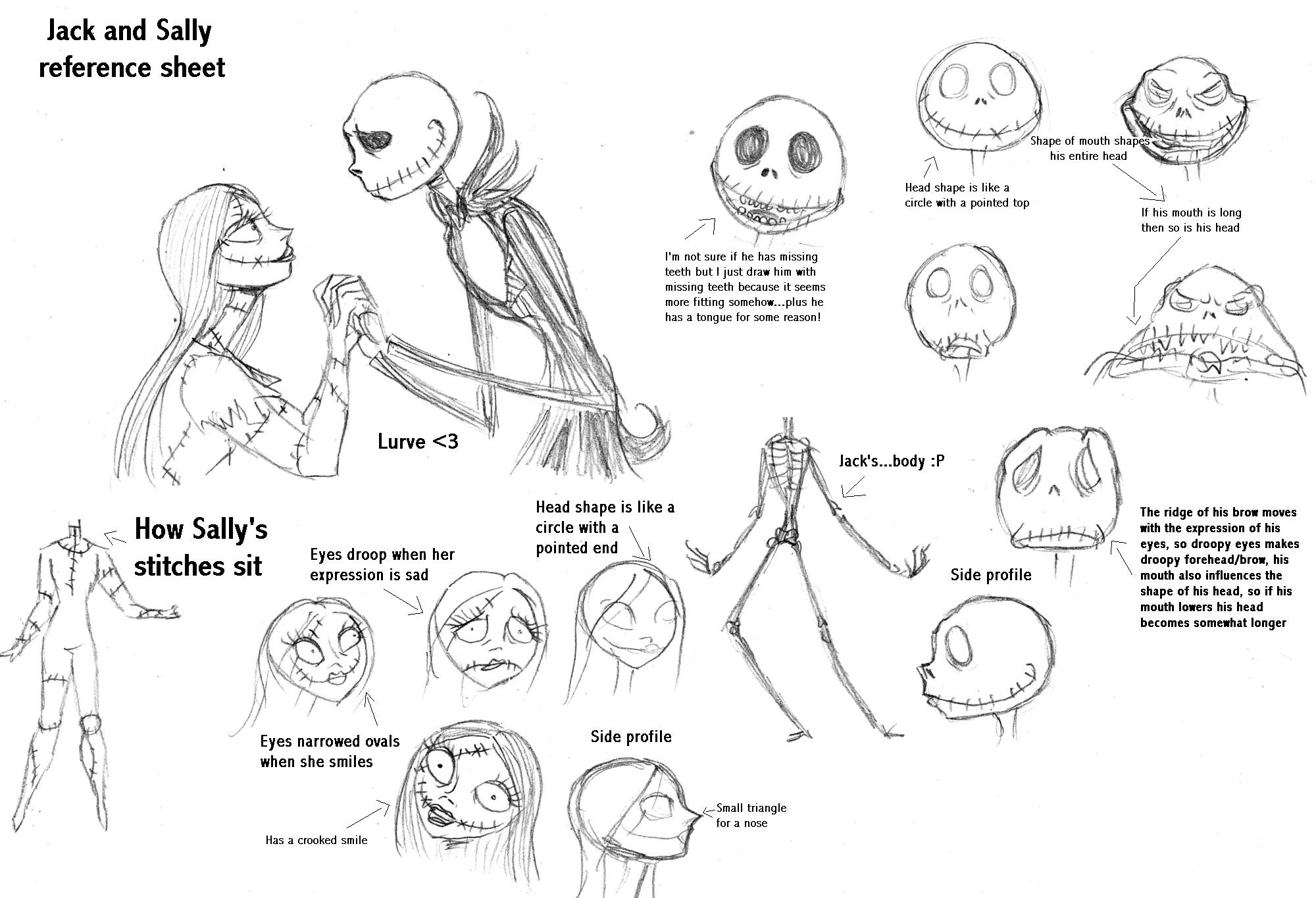 Jack and Sally reference sheet by Lily-pily on DeviantArt
