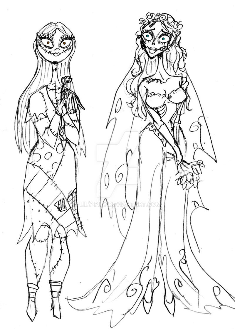 Sally and corpse bride sketch by lily pily on deviantart for Tim burton coloring pages
