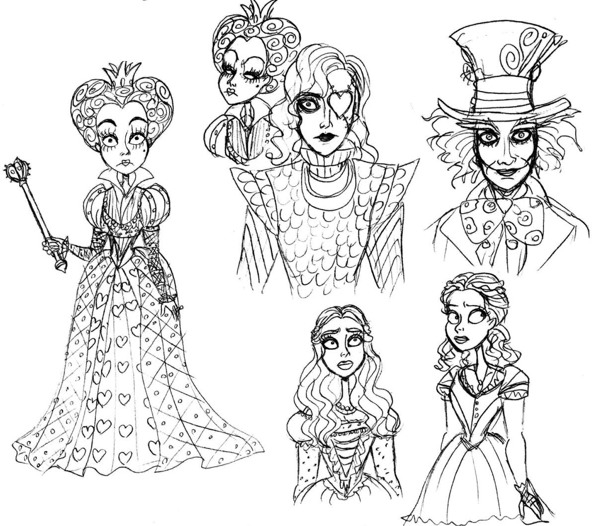 Tim Butons Alice Sketches By Lily Pily On Deviantart Tweedle Dee And Dum Coloring Pages Wonderland In Characters Burton
