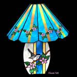 Stained Glass Chickadee Lamp
