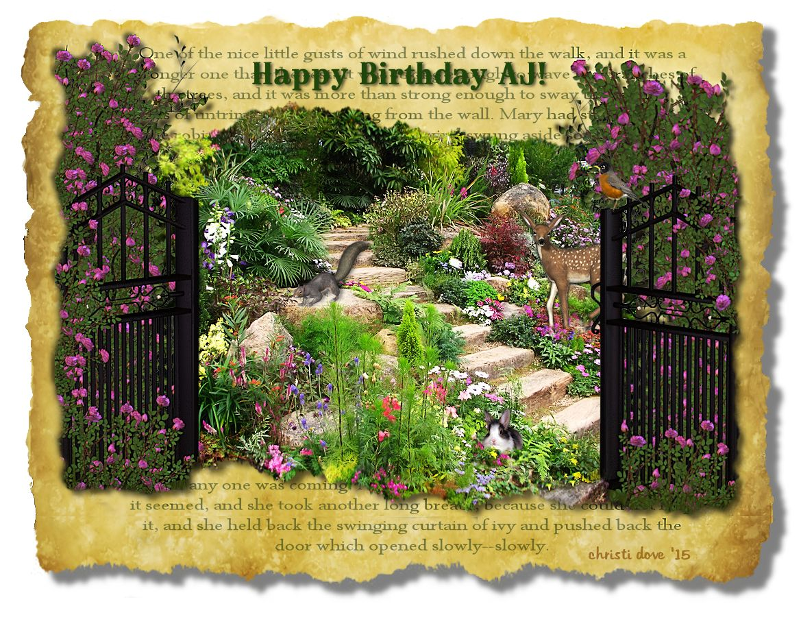 Secret Garden Theme Birthday Card By Christi Dove