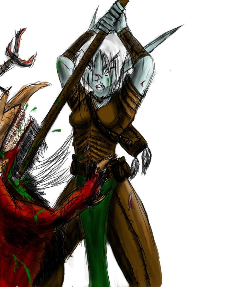 Riu fight a Demon by Silvro