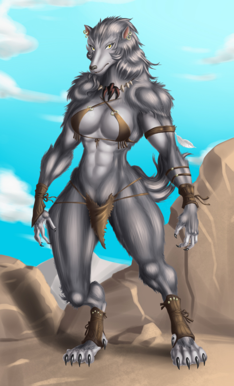 Werewolf Gal Colored by crovirus