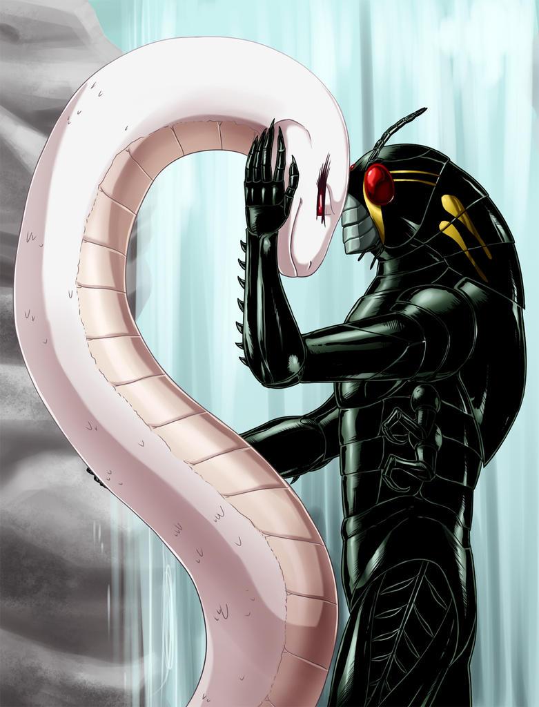 White Snake and Black Grasshopper by crovirus