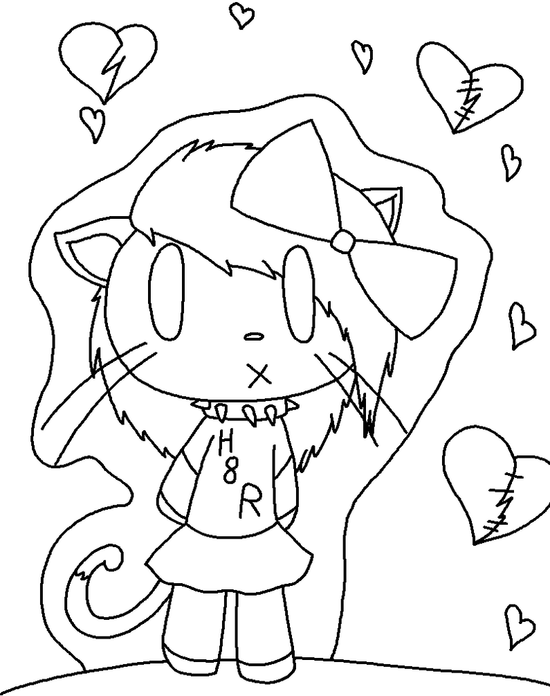 Emo Hello Kitty Coloring Pages : Emo hello kitty lineart by jkcafe on deviantart