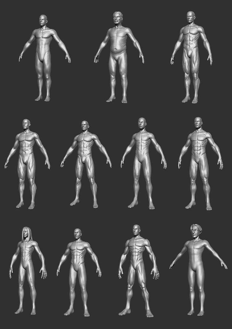Male Body Bases P1 by HecM