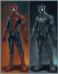 Stylized Movie Suit Spideys by HecM