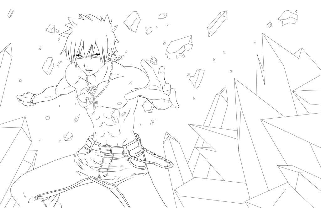 Gray from fairy tail lineart by jadeedge on deviantart for Fairy tail coloring pages anime