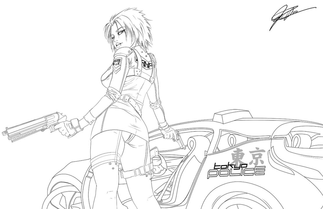 Future Cop Girl - LINEART by jadeedge