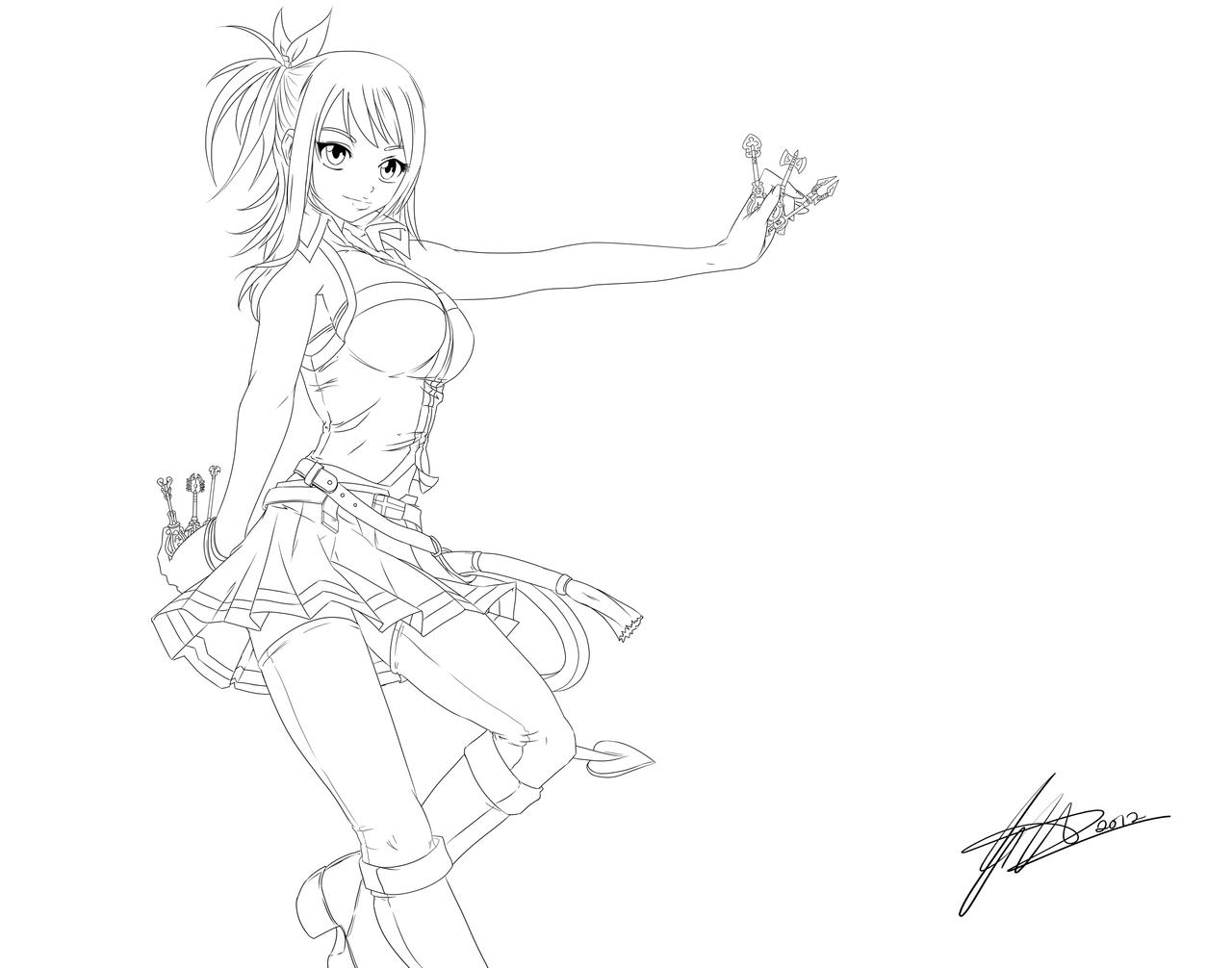 Lineart Lucy Heartfilia By Piko Chan4ever Fairy Tail