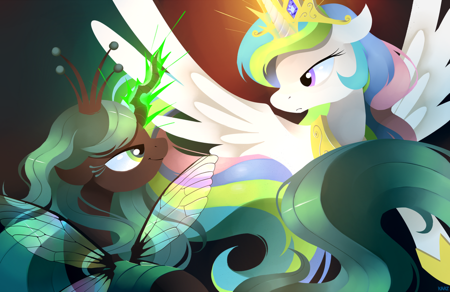 Celestia vs. Chrysalis by Karzahnii