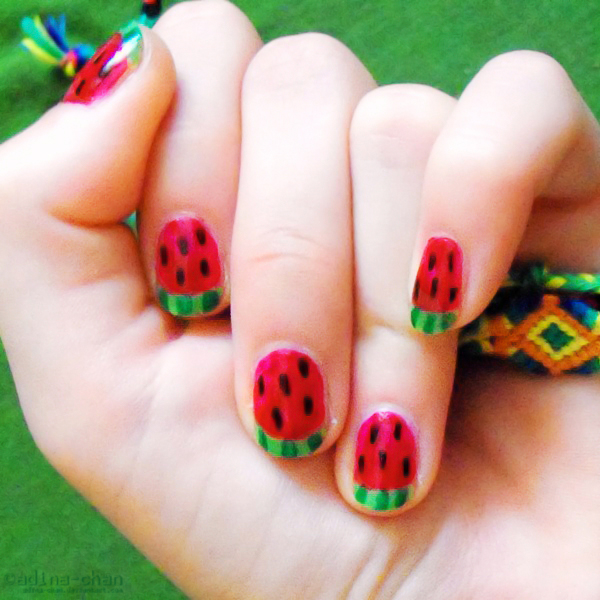 Watermelon nails II by adina-chan