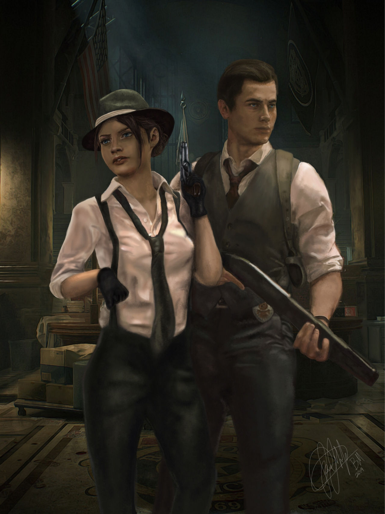 Resident Evil 2 Remake Claire And Leon By Betthinaredfield On