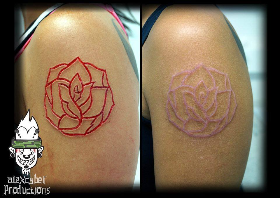 Rose scarification fresh and healed by AlexCyber-BodyArt ...