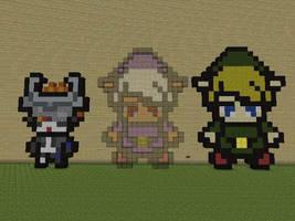 Minecraft Pixel Art Link and Midna Minis