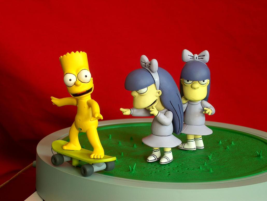 Are Bart simpson skateboarding naked