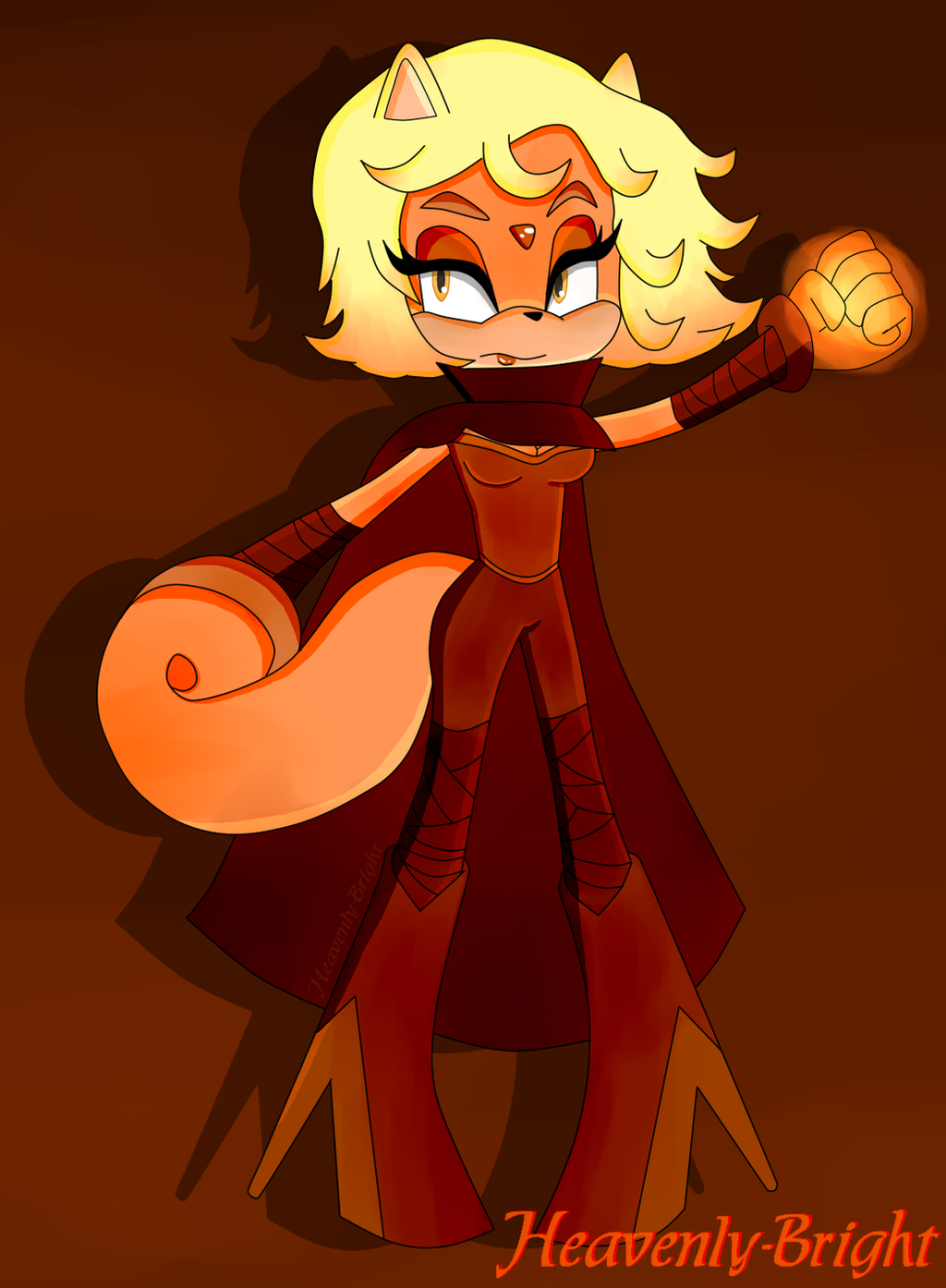 Sonic OC - Flame The Flying Squirrel by Heavenly-Bright