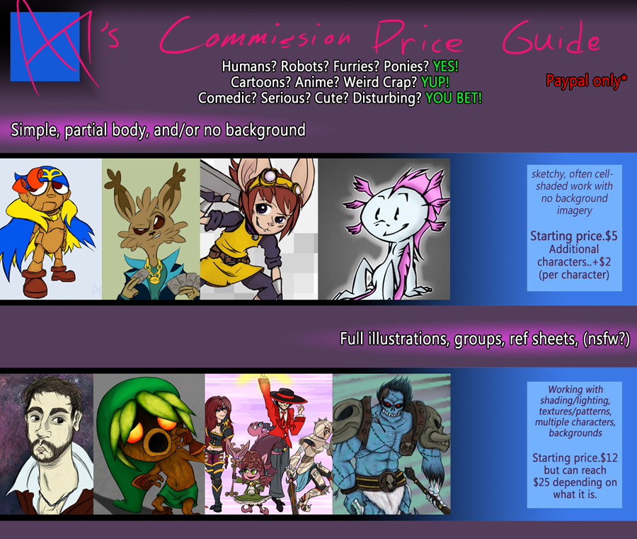 AT7's Commission Price Guide by aftertaster7