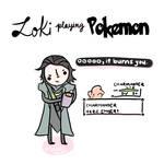 Loki playing pokemon.