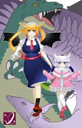 Kobayashi-San Chi no Maid Dragon - Tohru and Kanna by kaiju-hime