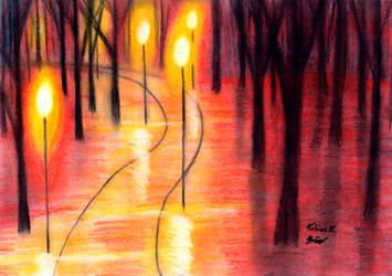 Bending Road in Lantern Light