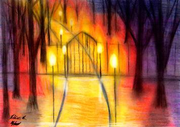 Park Gate in Lantern Light