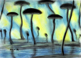Gloomy Glowing Mushroom Forest