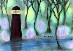 Lighthouse in the gloomy Forest