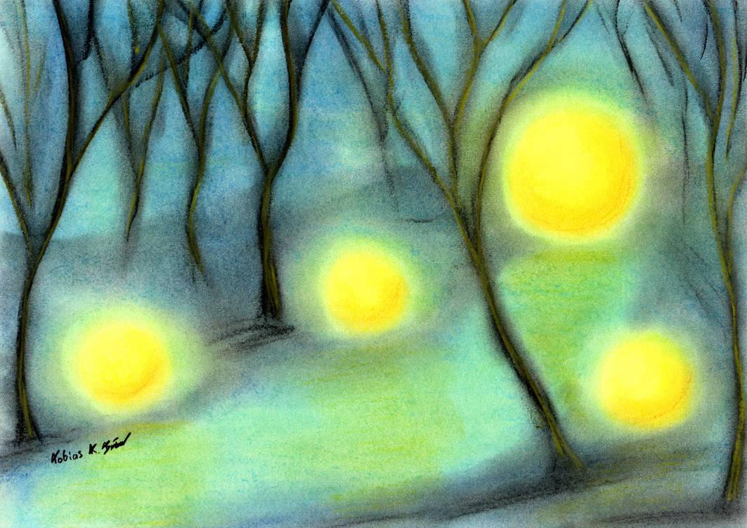 Gloomy Path between the glowing Orbs