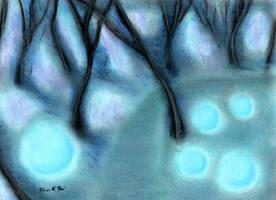 Gloomy Forest of Blue Orbs