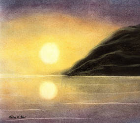 Golden Dawn in dark Lavender Sky