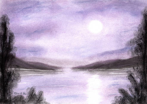 Purple Lakeside in the Moonshine