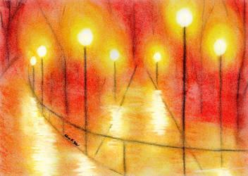 Lantern lit Overpass at Night