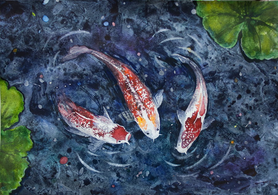 Fish in the pond by qi art on deviantart for Runescape koi pool